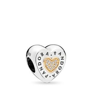 PANDORA SIGNATURE HEART CHARM, CLEAR CZ TWO TONE